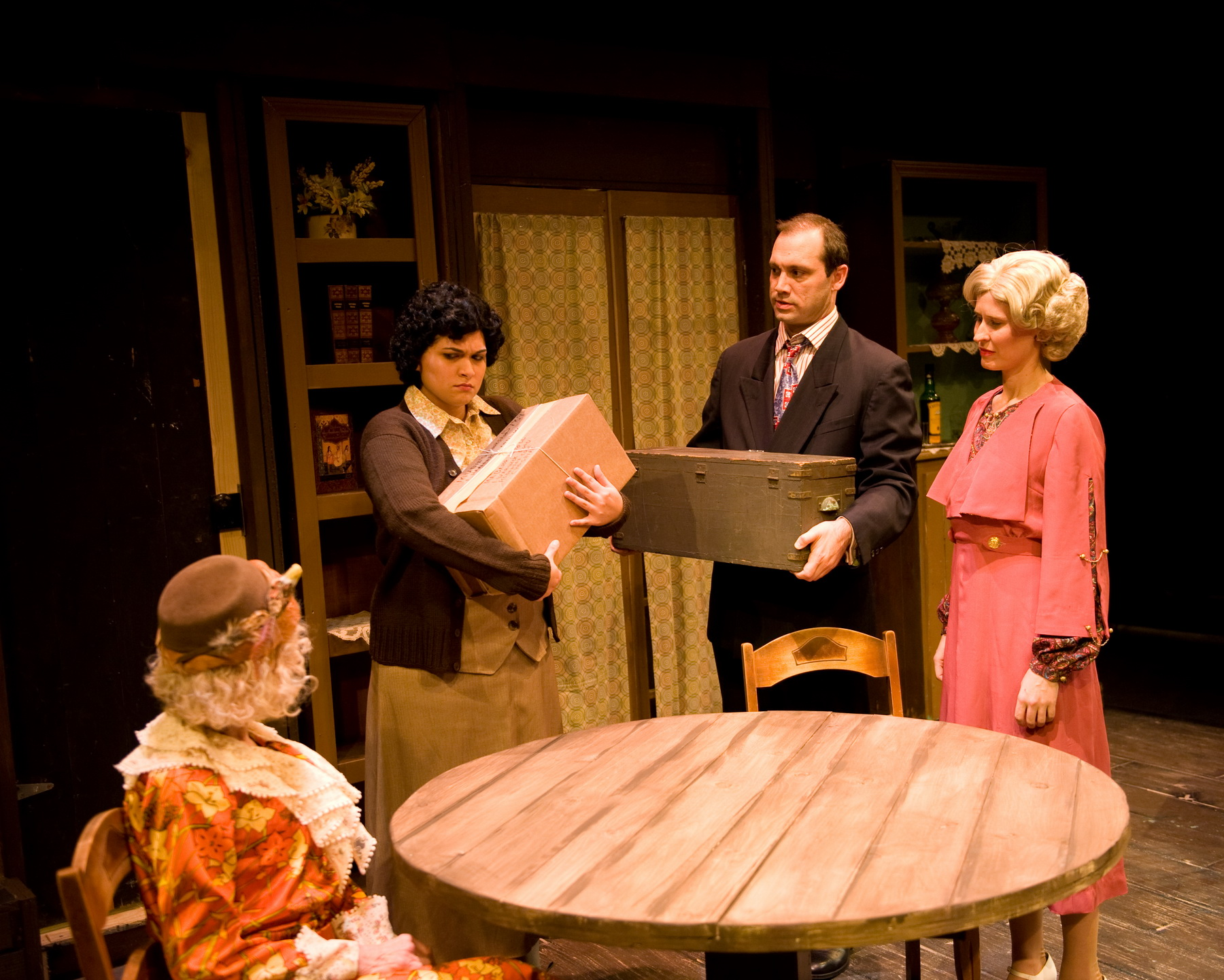 Marcia Mandell as Louise Garrard (Aunt Lou Lou), Tania Benites as Ethel, Jarred Nichols as Bruce Lovell and Jill Kenderes as Cecily Harrington