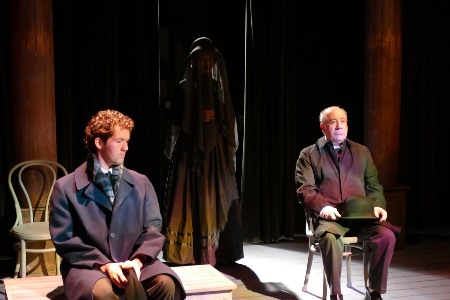 "The cast of ""The Woman in Black"" - Jeremy Jenkins as The Actor, Claudia Lillibridge as The Woman and Bob Goddard as Kipps"