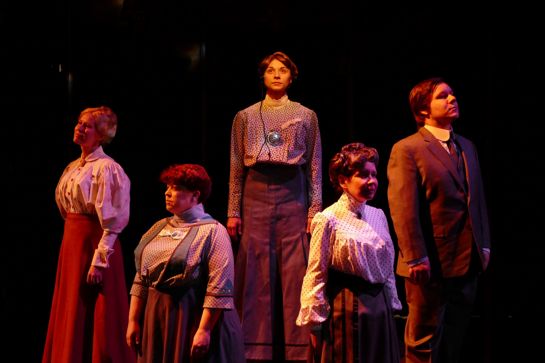 Jill Kenderes as Margaret Leavitt, Molly Clay as Williamina Fleming, Brittany Gaul as Henrietta Leavitt, Pam Matthews as Annie Cannon and Andrew Keller as Peter Shaw