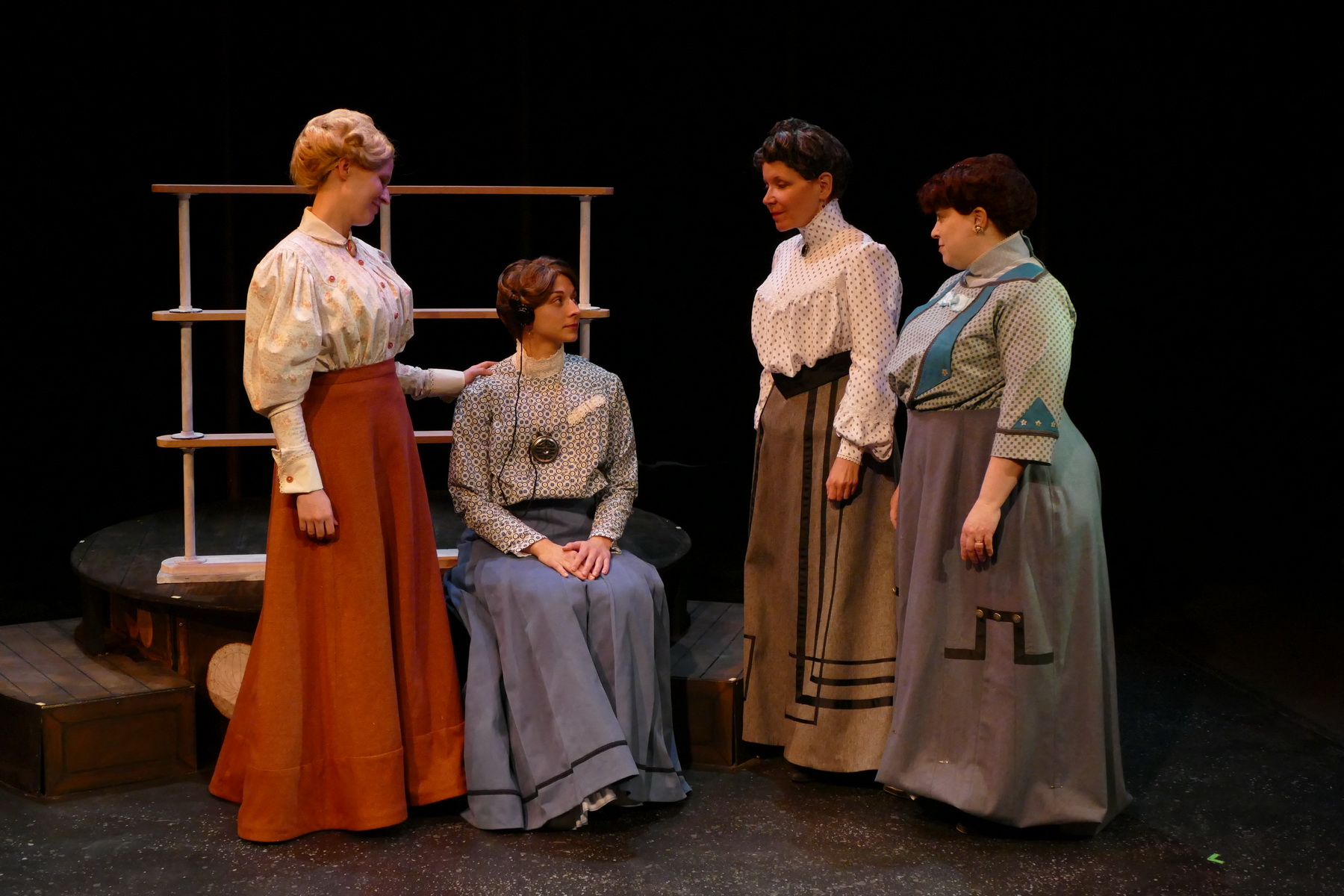 Jill Kenderes as Margaret Leavitt, Brittany Gaul as Henrietta Leavitt, Pam Matthews as Annie Cannon and Molly Clay as Williamina Fleming