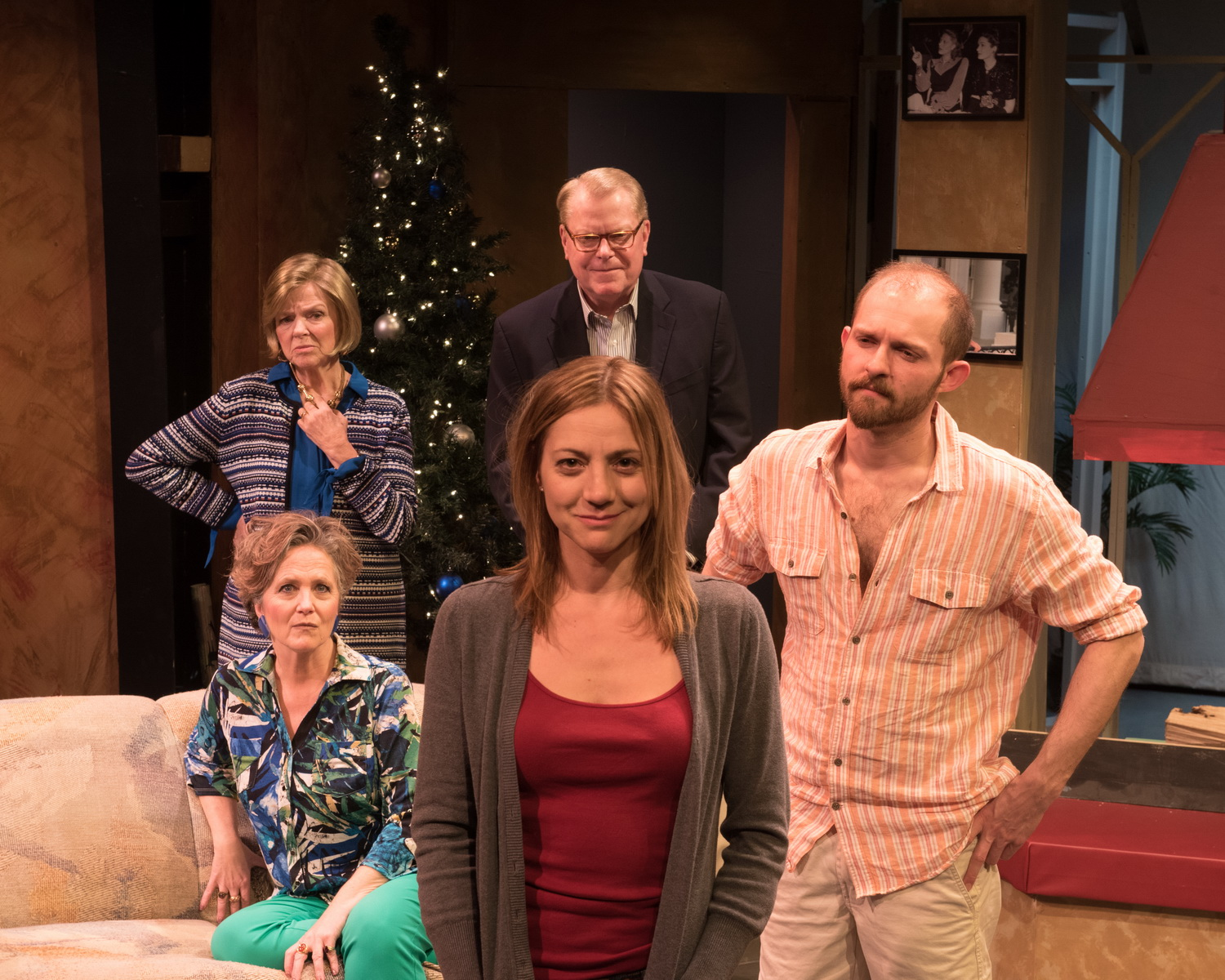 "(counterclockwise from bottom) Leighann DeLorenzo as Brooke, James Rankin as Trip, John J. Polk as Lyman, Anne McEvoy as Polly and Valerie Young as SildaCast of ""Other Desert Cities"""