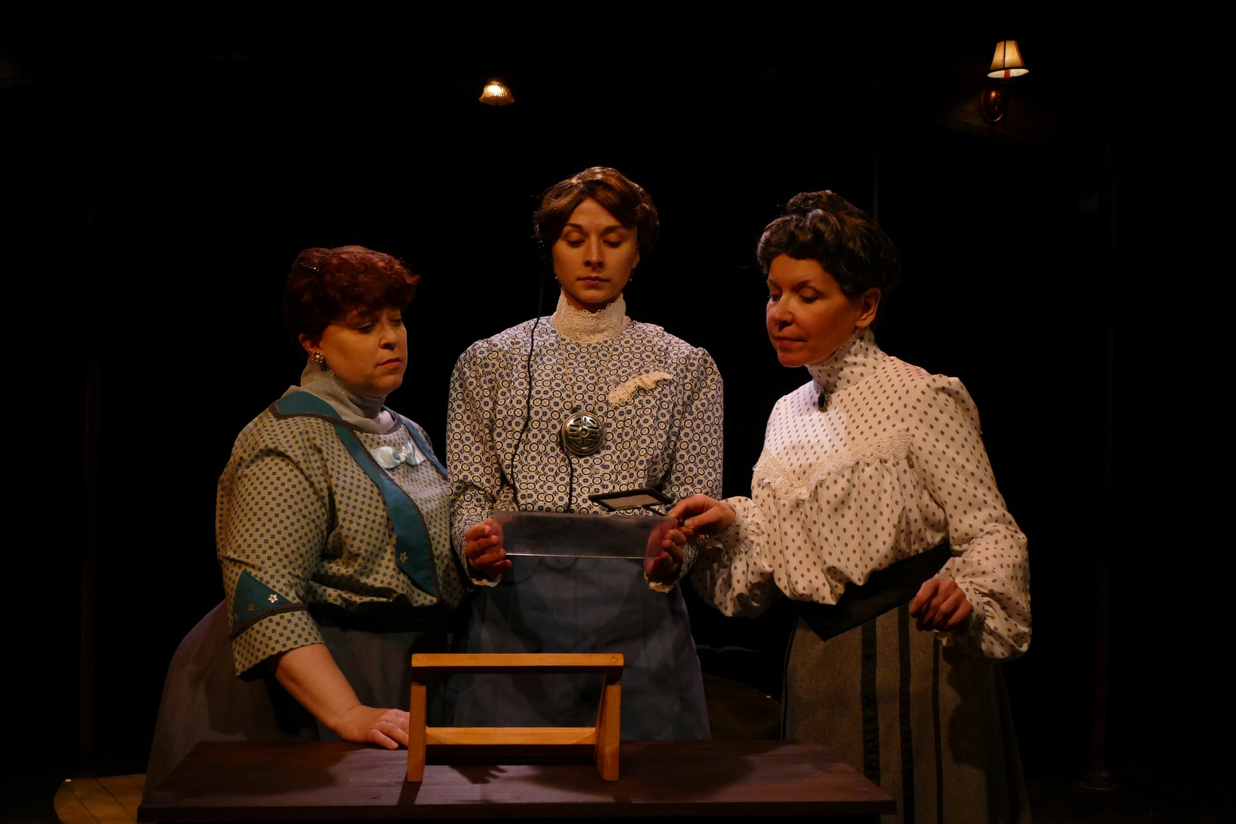 Molly Clay as Williamina Fleming, Brittany Gaul as Henrietta Leavitt, Pam Matthews as Annie Cannon