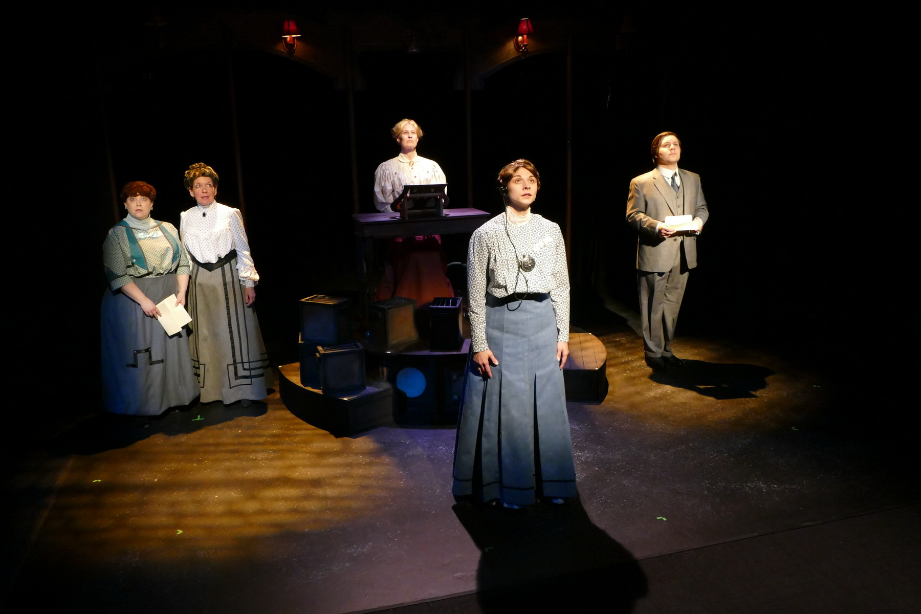 Cast of Silent Sky: front: Brittany Gaul as Henrietta Leavitt  Back: Molly Clay as Williamina Fleming and Pam Matthews as Annie Cannon, Jill Kenderes as Margaret Leavitt, and Andrew Keller as Peter Shaw