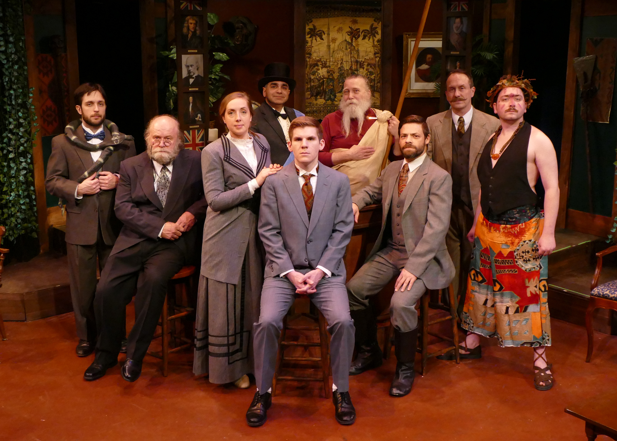 The Explorers Club cast: (left to right)   Mike Frye as Professor Cope, Robert Hawkes as Professor Sloane, Tiffany Trapnell as Phyllida Spotte-Hume and Countess Glamorgan, Corey Knick as Lucius Fretway, Assad Khaishgi as Sir Bernard Humphries, Tyson Douglas Rand as Beebe and Irish Assassin, Mark Rabkin as Harry Percy, Curt Arnold as Professor Walling and Colin P. McCauley as Luigi