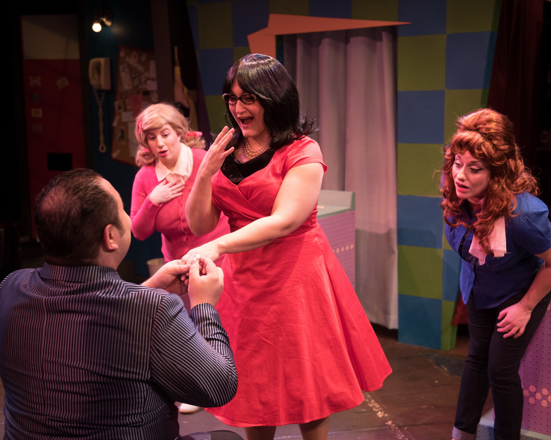 front: Matt Cuffari as Johnny Angel and Kate Klotzbach as Dee Dee  back: Ellie St. Cyr as Cindy and Eileen Canepari as Marge